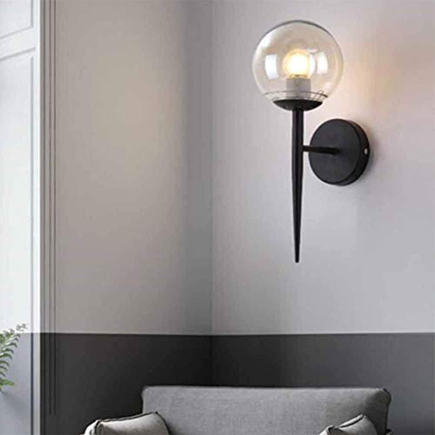 Wall Lamp Glass Art Simple for Mirror Front Hallway Bedroom Wohnzimmer-Staircase-Nacht-Leseleuchtungs-Sconce,schwarz
