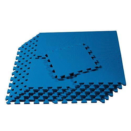 We Sell Mats 12' x 12' x 3/8' 36 Sq Ft Blue Interlocking Foam Mat