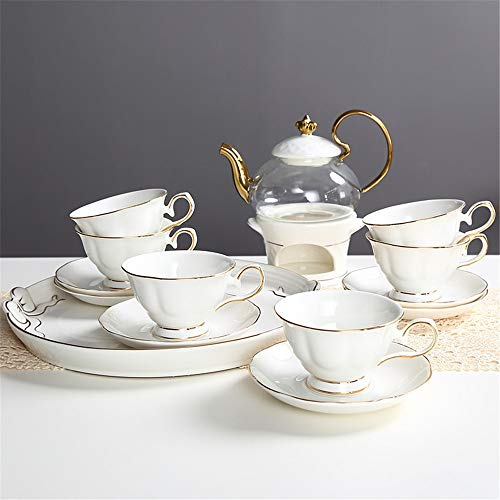 Review Porcelain Tea Set European Style Luxurious Gold Trim Ceramic Tea Cup Set Including 6 Pcs Tea ...