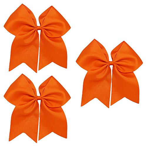 Kenz Laurenz Cheer Bows Orange Cheerleading Softball - Gifts for Girls and Women Team Bow with Ponytail Holder Complete Your Cheerleader Outfit Uniform Strong Hair Ties Bands Elastics (1)