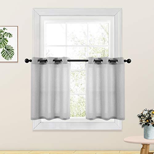 Kitchen Tier Curtains Grey 24 inch Length Linen Textured Cafe Curtains Short Bathroom Small Basement Window Curtain 2 Panels Grommet Top