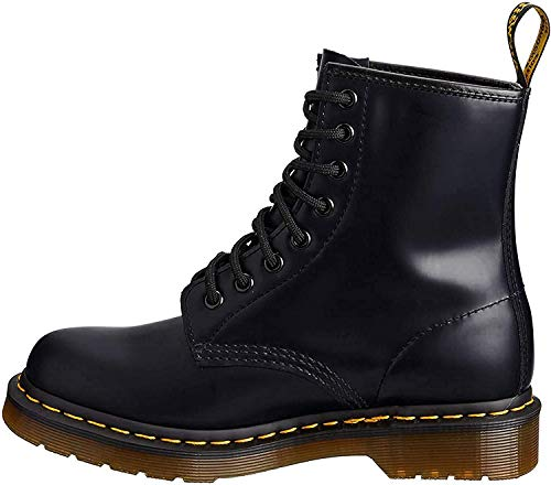 Dr. Martens Womens 1460W Originals Eight-Eye Lace-Up Boot, Black Smooth Leather, 6 M US/ 4 UK