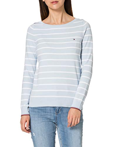 Tommy Hilfiger Boat-NK LS Suter, Azul Breezy/TH Optic White Swt, S para Mujer