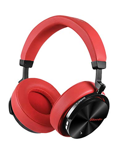 Bluedio T5 Active Noise Cancelling Headphones Over Ear Wireless Bluetooth Headphones with Mic Portable Stereo Headsets for Cell Phones Travel Work (Red)