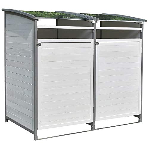 Melko Mülltonnenbox 240 Liter aus Holz Anthrazit/Weiß 140 x 85 x 127 cm, inkl. Rückwand