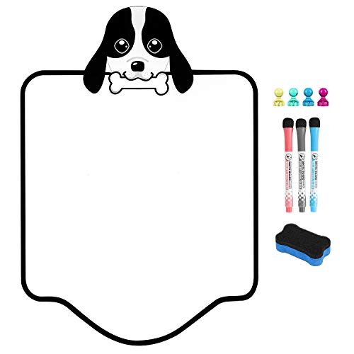 """Magnetic Fridge Whiteboard for Refrigerator – 17""""x12"""" Small Dry Erase White Board for Refrigerator with New Stain Resistant Technology, Kitchen Reminder Sticker with Eraser, Pens & Magnets"""