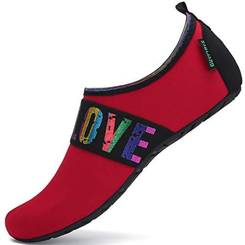 SAGUARO Hombre Mujer Zapatos de Agua Playa Escarpines Zapatillas de Deportes Acuáticos Buceo Surf Snorkel Yoga Piscina, Rojo 38/39