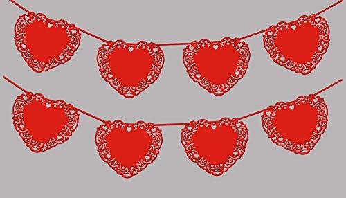 EinsSein 1x Guirnalda Boda de Corazón rojo banderillas banderín bandera banderines banderas recien casados letras just married fotos banderin recién decoracion coche rojo blancos y rojos fiesta jardin