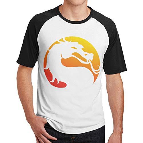 Mortal Kombat X Mens T-Shirt a Maniche Corte Fitness T-Shirt Tees Contrast(L,Nero)