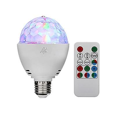 TSSS® E27 RGB LED Mini Ball Rotating Crystal Stage Light Disco Home Family Party Club Bar DJ Pub Wedding Remote Control Bulb Light Bulbs (Pack of 1)
