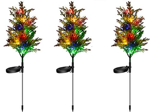 LED Solar Light Christmas Tree 3 Sets of Outdoor Garden Lights, Stainless Steel Outdoor Solar Christmas Lights-Waterproof, Used for Garden Terrace Courtyard Street Party Holiday Decoration