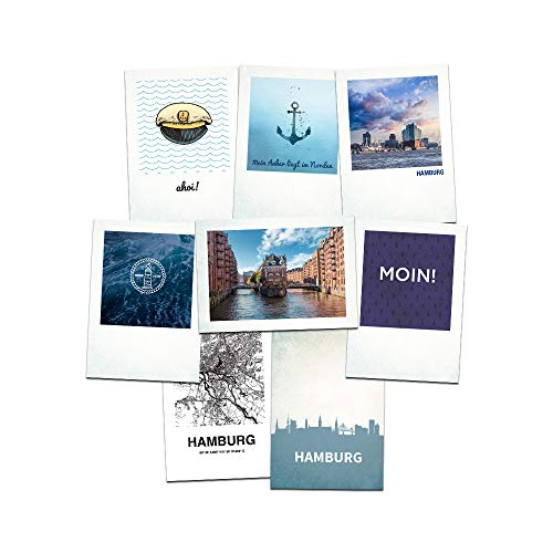 Stadtliebe® | Hamburg Postkarten Set - 8 Maritime Postkarten Motive Format A6 (Grußkarte)