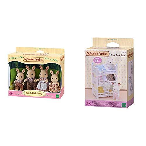SYLVANIAN FAMILIES Milk Rabbit Family Mini muñecas y Accesorios, (Epoch para Imaginar 4108) + Triple literas (Epoch para Imaginar 4448)