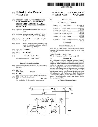 Current-mode bandgap reference with proportional to absolute temperature current and zero temperature coefficient current generation: United States Patent 9817428 (English Edition)