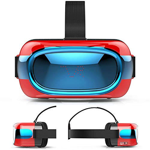 TLgf 3D VR Lunettes de réalité virtuelle Casque pour Les Jeux et Les Films 3D, VR Headset avec WiFi et Bluetooth, Myopia Ajustement système de Protection oculaire,Red