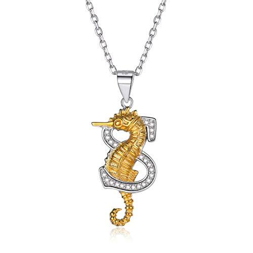 ChicSilver 925 Sterling Silber Seahorse Halskette für Frauen Initial S Anhänger Tier Schmuck mit Kette Boho Schmuck für Mädchen