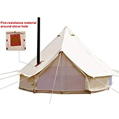 "Our bell tent comes with a hole(Red is as picture shown)for chimney pipe and are capable to equip with stove inside. The hole can be covered by cotton when you don't use it. So it achieve both ideal of ""beauty and practicality"". This winter tent with..."