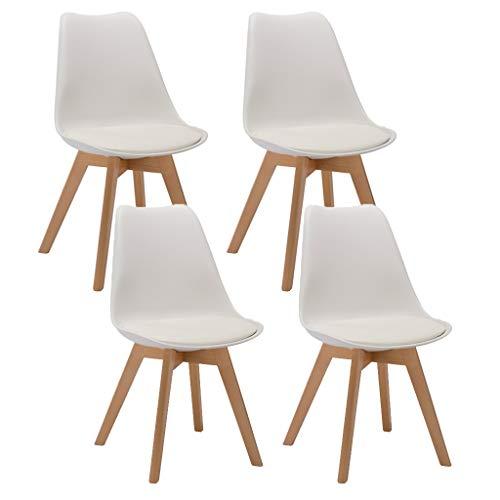 SYN-GUGAI Möbel 4er Set Esszimmerstühlen Scandinavian Design Coffee Side Chairs mit Massivholzbeinkissen Schreibtischstühle für die Küche Esszimmer (Color : White)