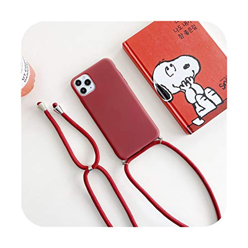 Crossbody collar correa cordón silicona teléfono caso para iPhone 12 MiNi 12 Pro Max 11 Pro Max X XR XS Max 6S 7 8 Plus cubierta rojo vino para iPhone XS