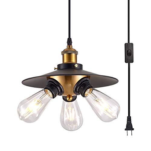 YLONG-ZS Black Hanging Lamps Swag Lights Plug in Pendant Light 16.4 FT Cord and Chain/Hanging Pendant Light Cage in-Line On/Off Switch for Kitchen Island, Dining Room, Entryway,3Lights,Black Finish