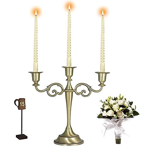 Candle Holders, Candelabra Candle Holder Brass 3 Arms, Wedding Candle Holders, Candelabra Centerpieces, Candlestick Holders, Taper Candle Holder...