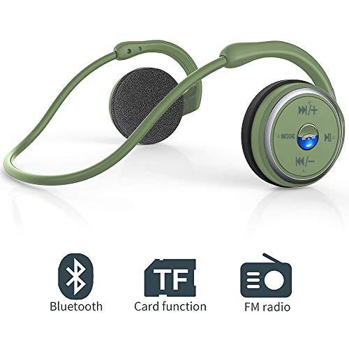 Bluetooth Kopfhörer Sport on Ear Wireless Headphones mit FM Radio, CVC 6.0 Cancellation Clear Voice Mikrofon Unterstützung TF-Karte (32G) Licht und Faltbar für Running, Gym, Sport, Riding, Work (Grün)