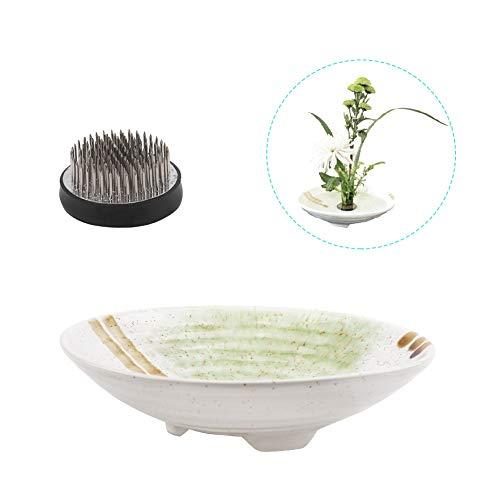 WANDIC Blumenarrangement-Zubehör, Set mit 2 runden Blumen Frosch & Keramik ikebana-Vasen für Ikebana-Blumenarrangement, Kunst, Heimdekoration, Tellerform, weiß gepunktet