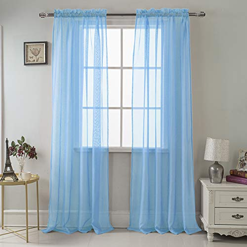 RT Designers Collection Celine Sheer 55 x 90 in. Rod Pocket Curtain Panel, Neon Blue