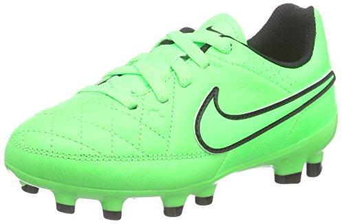 Nike Jr Tiempo Genio Leather Fg, Scarpe da Calcio Ragazzo, Green Strike/Grn Strk-Blk-Blk, 38.5