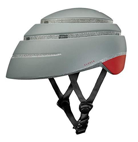 Closca Casco de Bicicleta para Adulto, Plegable Helmet Loop. Casco de Bici y Patinete Eléctrico/Scooter para Mujer y Hombre Unisex. Gris/Vino, Talla L