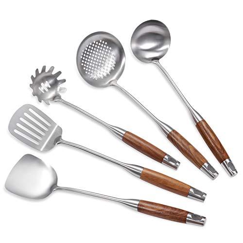 YFWOOD Set de 5 Ustensiles de Cuisine en Acier Inoxydable avec Spatule et Écumoire Pour Pâtes, Wok, Spatule, Louche, Manche en Bois Passe au Lave-Vaisselle