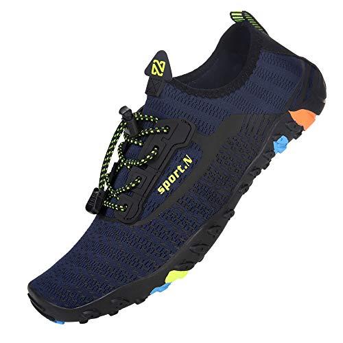 IceUnicorn buty plażowe, damskie i męskie, buty do pływania, buty do wody, na lato, szybkoschnące, buty do surfowania., - Zb244 Navy - 47 EU