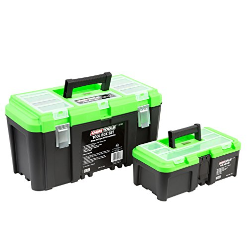 "OEMTOOLS 22180 Tool Box Set with Removable Tool Tray – Contains 19"" amp 125"" Tool Boxes with Removable Trays 