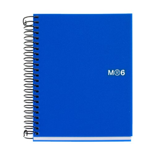 Miquelrius 6 x 8 Wirebound Notebook, 6-Subject, College Ruled, Blue