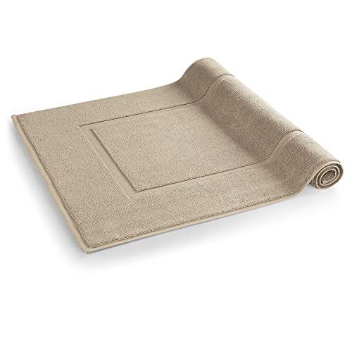 Blumtal 2er Set Badvorleger, Badematte - Weicher Duschvorleger, 100% Baumwolle, Oeko-Tex Zertifiziert, 51x79 cm, Taupe