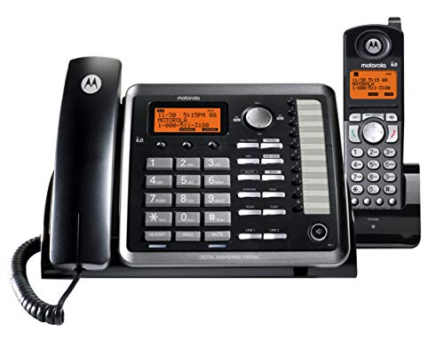 Motorola ML25255 DECT 6.0 Expandable Corded/Cordless 2-line Business Phone with Caller ID & Answering Machine, Black, 1 Handset