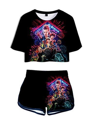 Camiseta y Pantalón Corto Stranger Things, Conjunto Mujer Top y Pantalones Cortos Stranger Things, Camiseta de Manga Corta Verano Adolescente Chica Conjunto Deportivo Chándal Niñas y Mujers