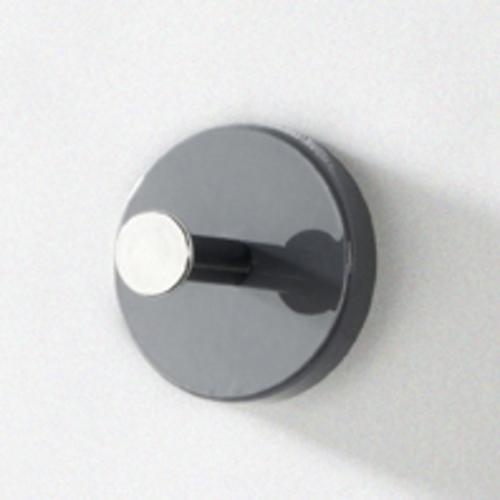 Haku Garderobenknopf 8 Stück, aus MDF Dekor Hochglanz grau, Garderobenknopf 8 Stück, aus Chrom-verrnickeltem Stahl, 42191
