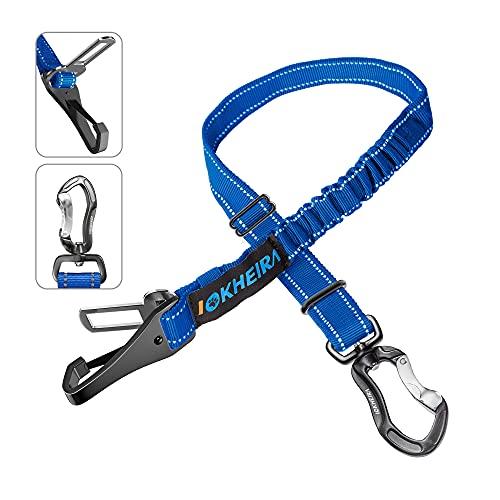Iokheira Hunde Sicherheitsgurt, 3-in-1 Verstellbar Sicherheitsgeschirre für Auto,Reflektierend Bungee Hundegurt mit Haken für alle Hunderassen & Autotypen (Blau)