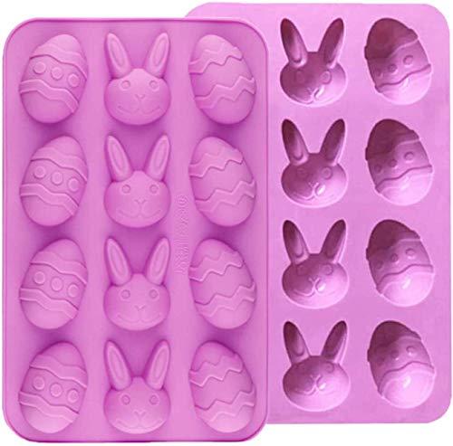CNXUS 2 Pezzi Uova di Pasqua Stampo in silicone di coniglio, Stampo per cioccolato Stampo per caramelle Stampo per sapone pasquale Stampo per coniglietto, Forniture per feste