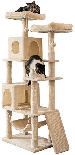 MUZII キャットタワー 猫タワー 麻紐 スロープ付き ハンモック ストレス解消 165cm 匂いなし 048A