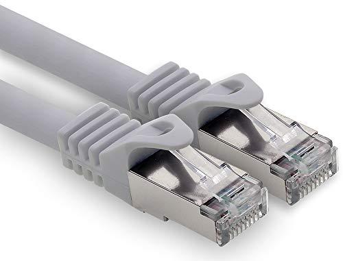10m - grau - 1 Stück CAT.7 Computer Ethernet Kabel Netzwerkkabel (Rohkabel) Patchkabel S-FTP LSZH PIMF 10GB s RJ45 Stecker Cat6a