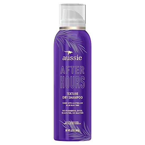 Aussie After Hours Texture Dry Shampoo For Women, No Residue, Infused with Australian Blue Gum Tree, Paraben & Dye Free, 4.9 Ounce