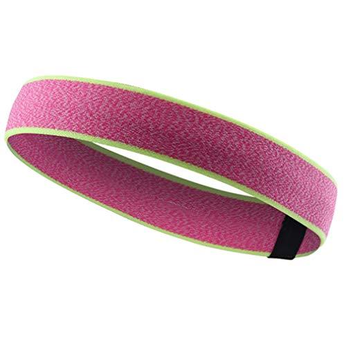 Yinew Stirnband rutschfeste schweißabsorbierende Sport Stirnband elastische Unisex Workout Stirnbänder zum Laufen Fitness Yoga Fußball Basketball Volleyball, pink + fluoreszierend gelb