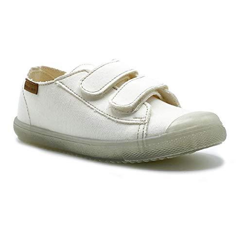 Zapatillas de Lona ecológica para niña y niño/Bambas Infantiles con aromaterapia antimosquitos/Calzado Infantil con Cierre de Velcro/fabricacion en España (Blanco, Numeric_31)