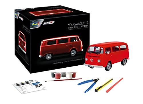 Revell-Volkswagen 01034 Calendario de Adviento VW T2 Bus, Color Rojo