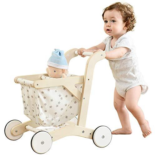 labebe Kinder Einkaufswagen Holz Lauflernhilfe Pretend Play Spielzeug Puppenwagen Spielzeug Stabil Leinwand Zubehör für Kaufmannsladen und Rollenspiele