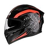 Casco del Motociclo Professionale Anti Crash Downhill Moto Caschi Rimovibile Fodera Comfort Corsa Protezione Caps Doppio Visiera del Casco (Nero Rosso 54-65CM) Eternal (Color : #1, Size : L)
