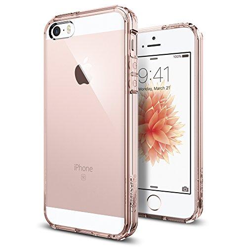 Spigen Ultra Hybrid für iPhone SE 2016/5S/5 Hülle Handyhülle Durchsichtige PC Rückschale mit Silikon Bumper Schutzhülle Case Rose Crystal 041CS20172