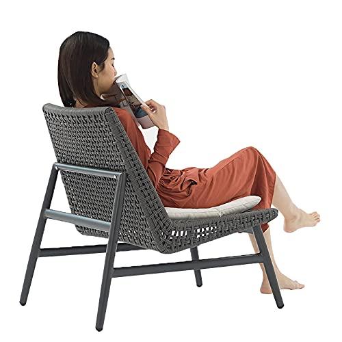 MYRCLMY Pasti da Pranzo All'aperto Sedie A Rattan Patio Mobili da Giardino con Cuscini di Seduta, Tessere Poltrona in Vimini Poltrona Balcone Design Tempo Libero Backrad Tavolino,Chair